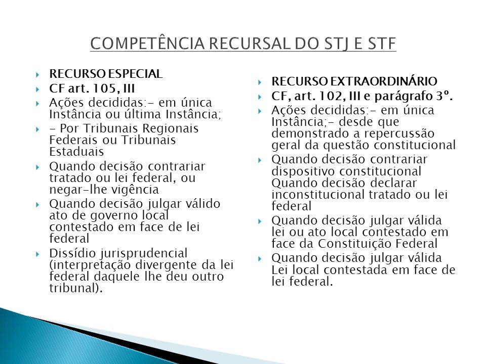 COMPETÊNCIA RECURSAL DO STJ E STF