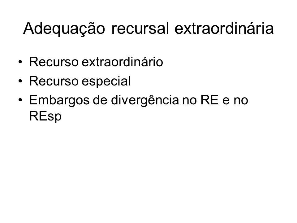 Adequação recursal extraordinária