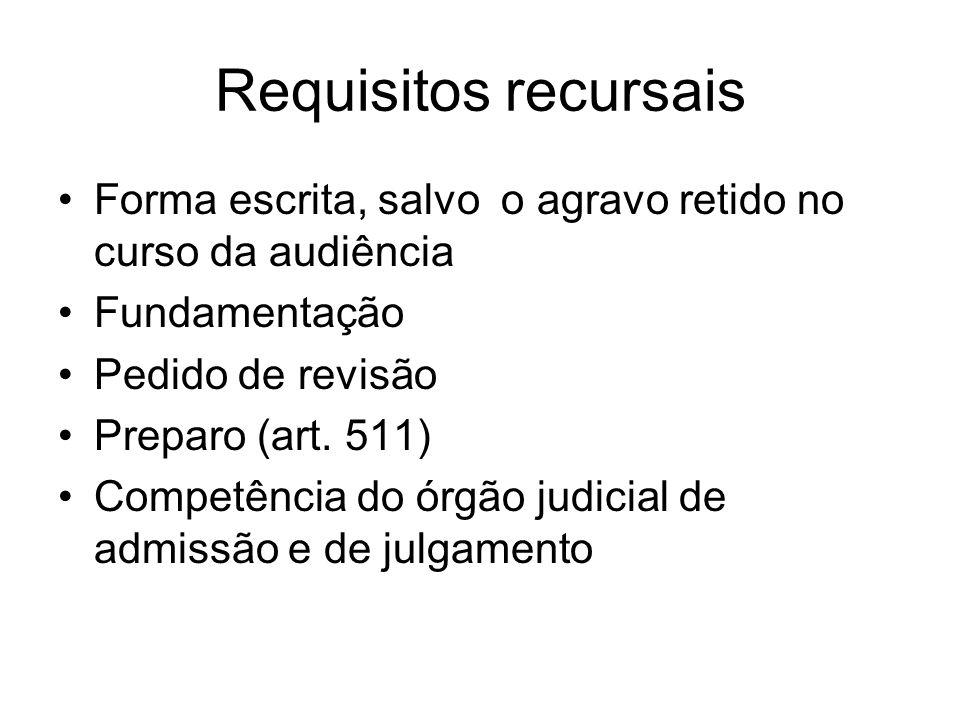 Requisitos recursais Forma escrita, salvo o agravo retido no curso da audiência. Fundamentação. Pedido de revisão.