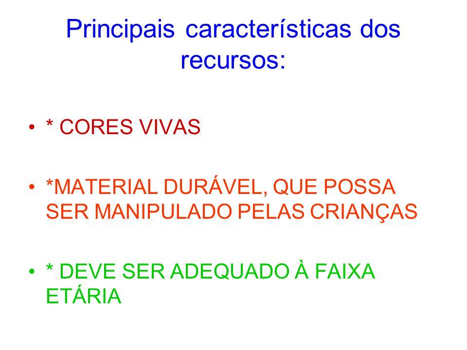 Principais características dos recursos: