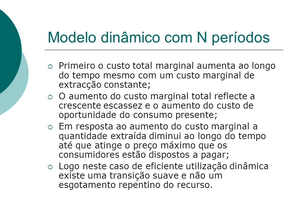 Modelo dinâmico com N períodos