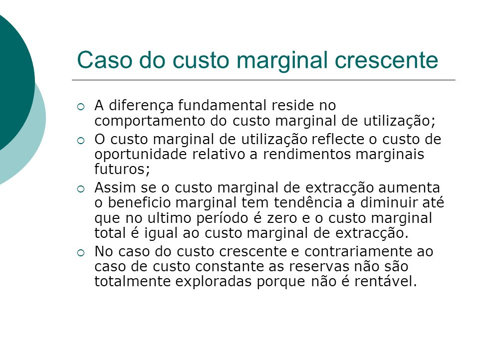 Caso do custo marginal crescente