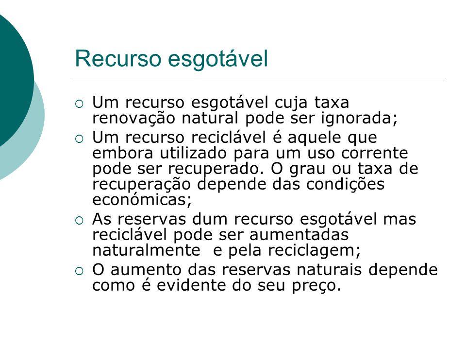 Recurso esgotável Um recurso esgotável cuja taxa renovação natural pode ser ignorada;