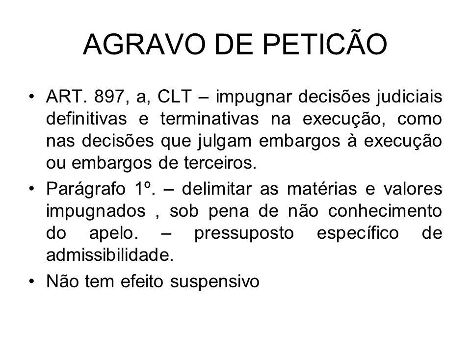 AGRAVO DE PETICÃO