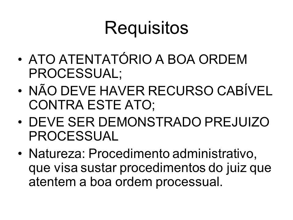 Requisitos ATO ATENTATÓRIO A BOA ORDEM PROCESSUAL;