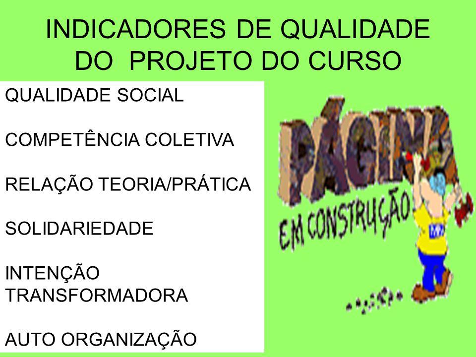 INDICADORES DE QUALIDADE DO PROJETO DO CURSO