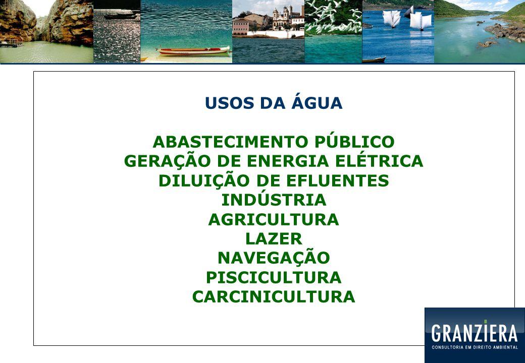 USOS DA ÁGUA ABASTECIMENTO PÚBLICO GERAÇÃO DE ENERGIA ELÉTRICA DILUIÇÃO DE EFLUENTES INDÚSTRIA AGRICULTURA LAZER NAVEGAÇÃO PISCICULTURA CARCINICULTURA