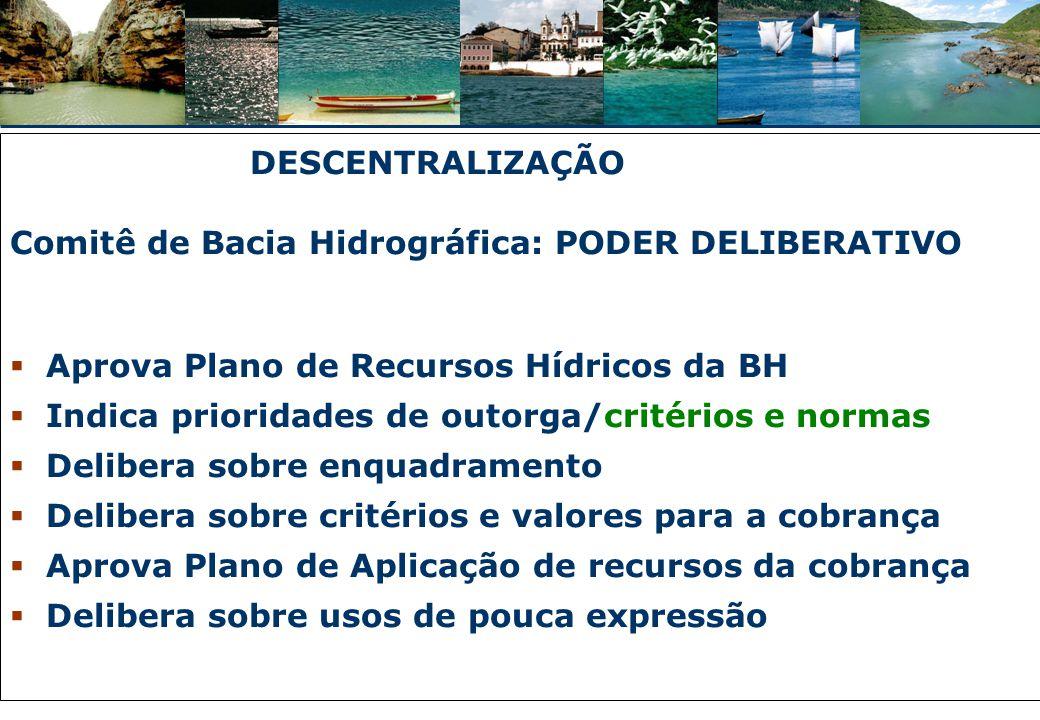 DESCENTRALIZAÇÃO Comitê de Bacia Hidrográfica: PODER DELIBERATIVO