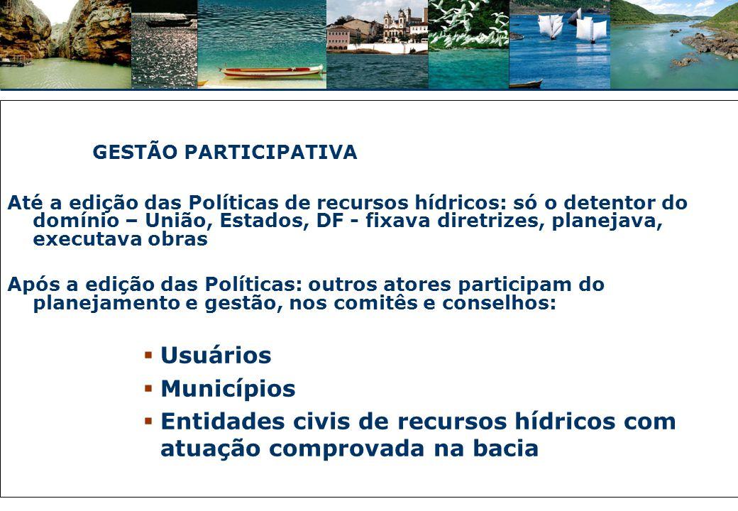 Entidades civis de recursos hídricos com atuação comprovada na bacia