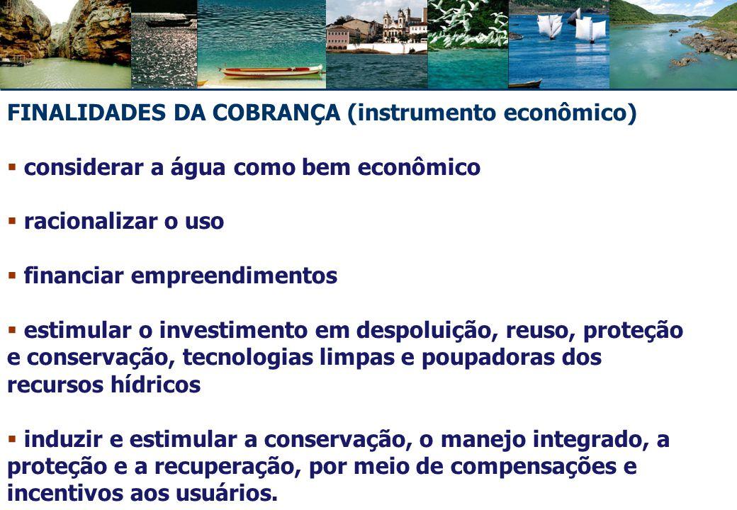 FINALIDADES DA COBRANÇA (instrumento econômico)