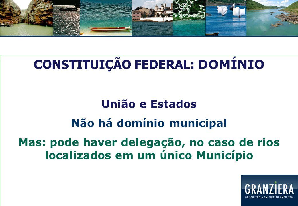 CONSTITUIÇÃO FEDERAL: DOMÍNIO Não há domínio municipal