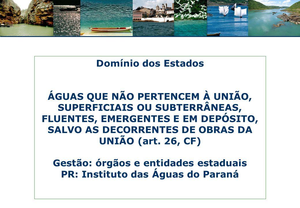Gestão: órgãos e entidades estaduais PR: Instituto das Águas do Paraná