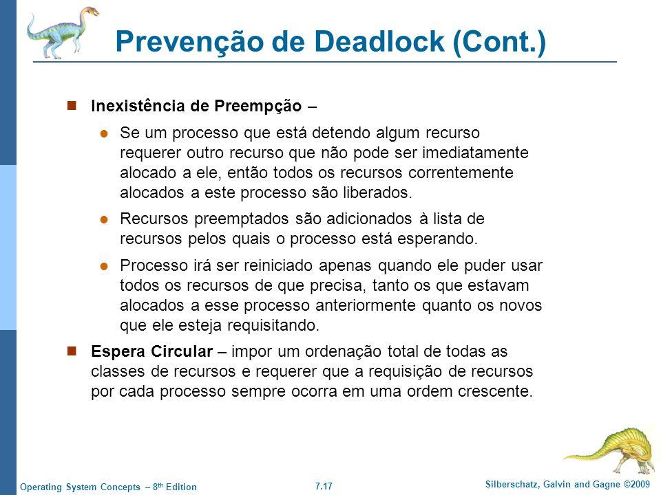 Prevenção de Deadlock (Cont.)