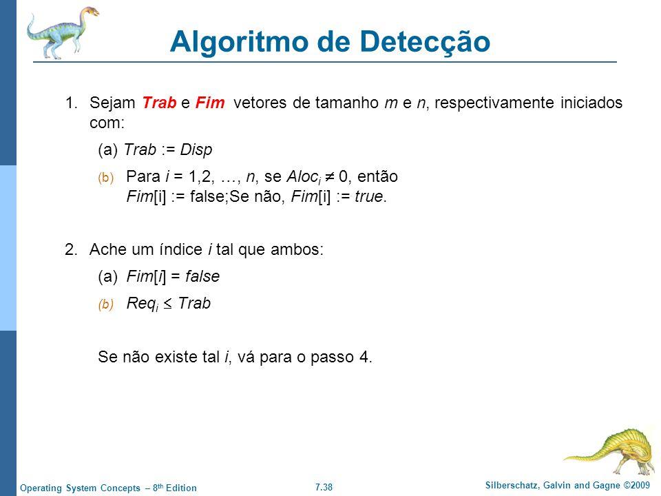 Algoritmo de Detecção 1. Sejam Trab e Fim vetores de tamanho m e n, respectivamente iniciados com: