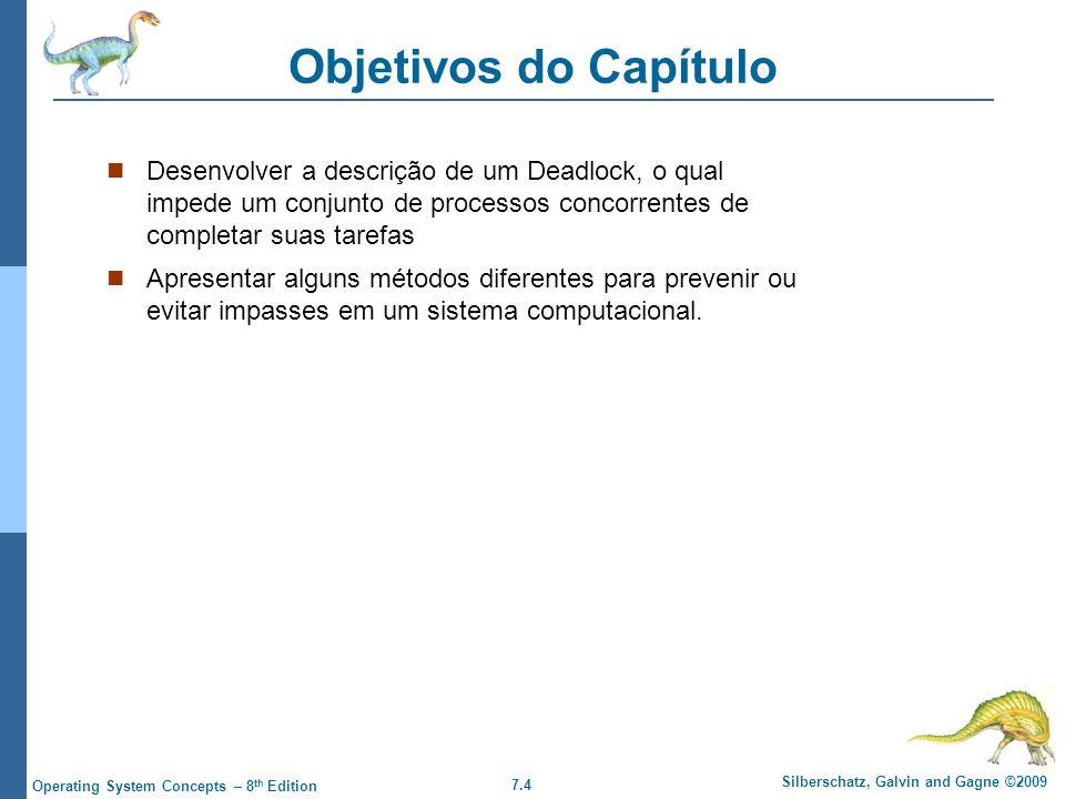 Objetivos do Capítulo Desenvolver a descrição de um Deadlock, o qual impede um conjunto de processos concorrentes de completar suas tarefas.