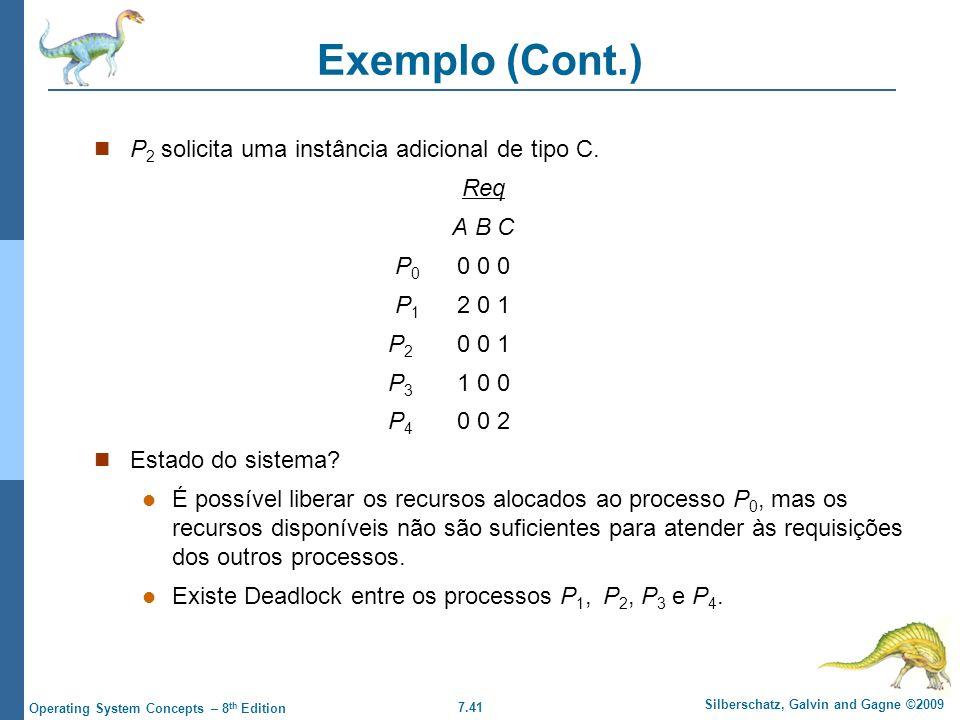 Exemplo (Cont.) P2 solicita uma instância adicional de tipo C. Req