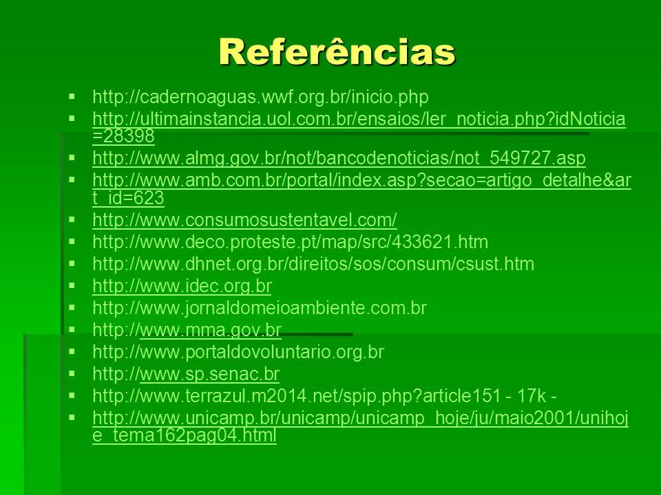 Referências http://cadernoaguas.wwf.org.br/inicio.php