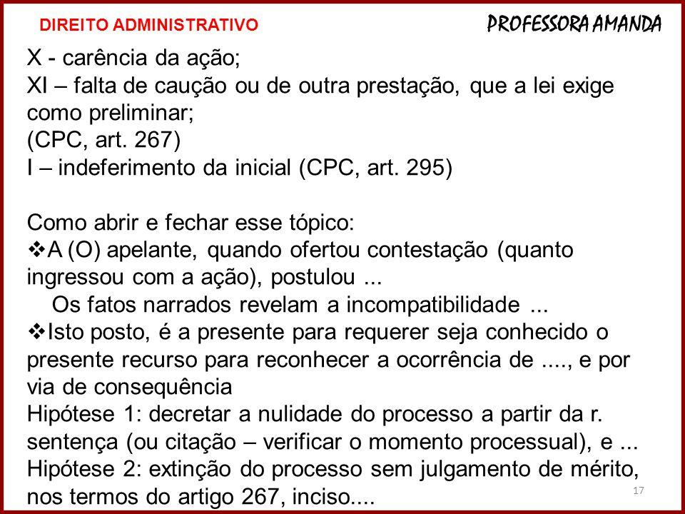 I – indeferimento da inicial (CPC, art. 295)