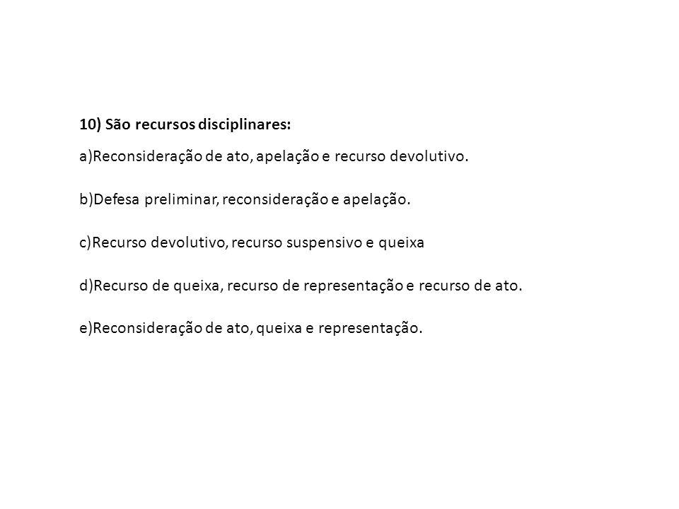 10) São recursos disciplinares:
