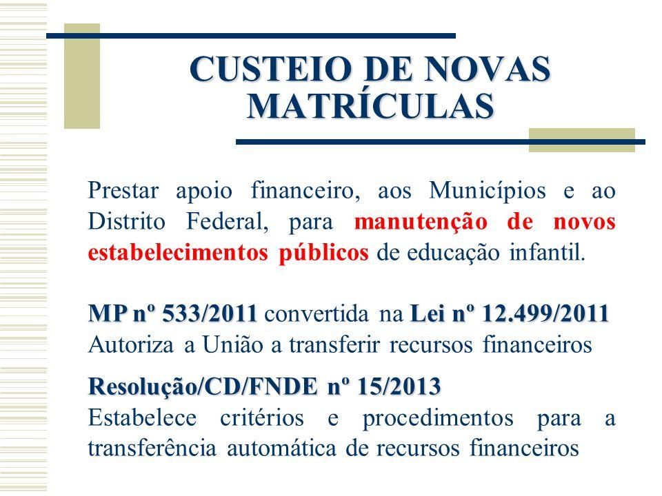 CUSTEIO DE NOVAS MATRÍCULAS