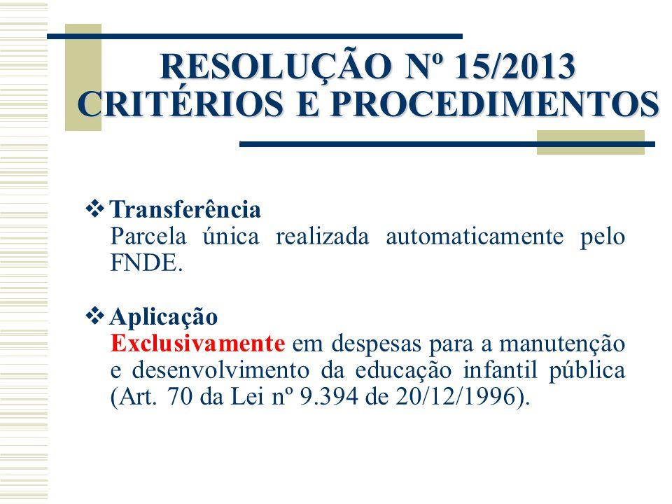 RESOLUÇÃO Nº 15/2013 CRITÉRIOS E PROCEDIMENTOS
