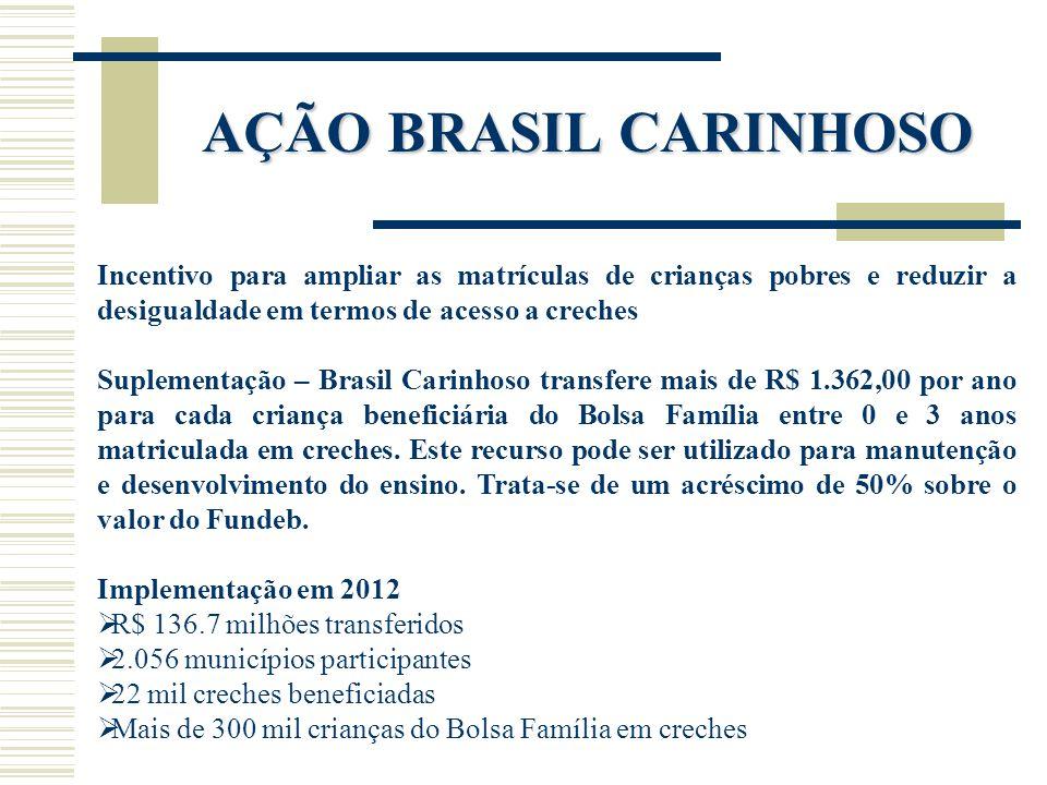AÇÃO BRASIL CARINHOSO Incentivo para ampliar as matrículas de crianças pobres e reduzir a desigualdade em termos de acesso a creches.