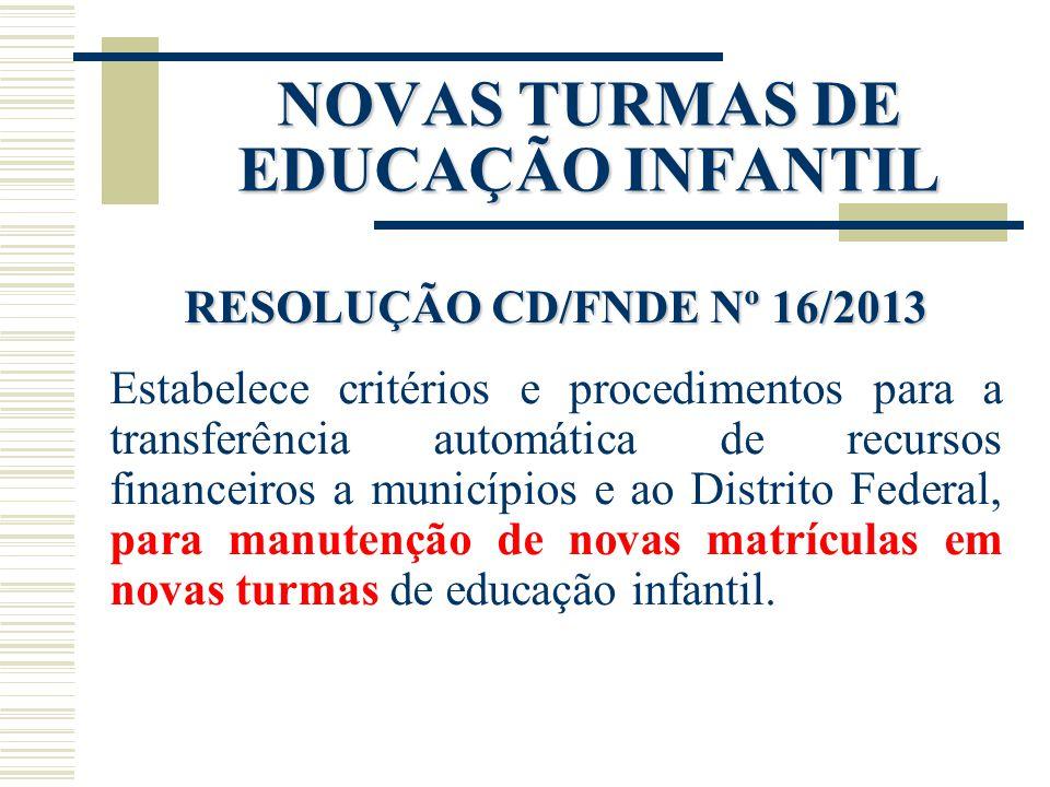 NOVAS TURMAS DE EDUCAÇÃO INFANTIL