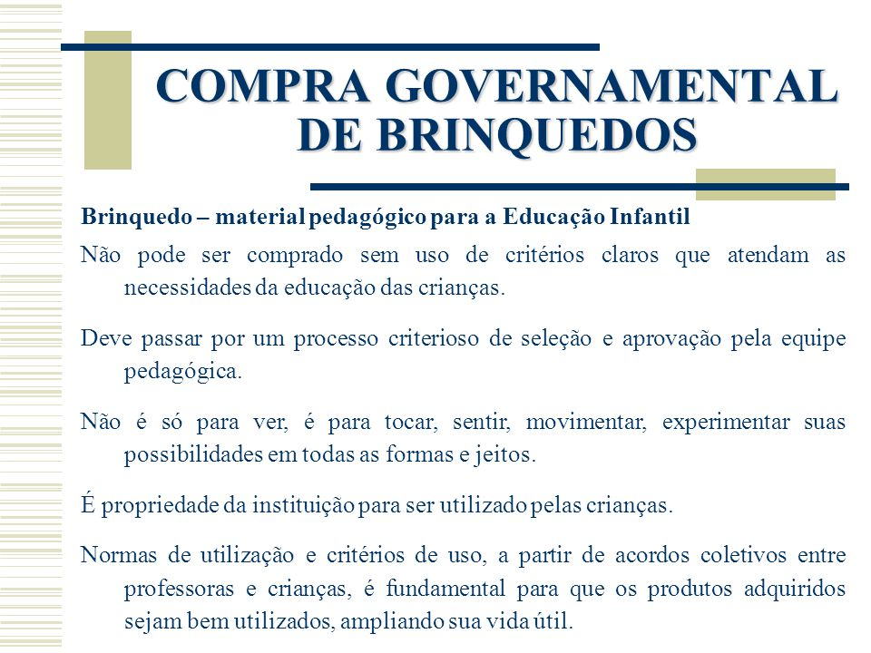 COMPRA GOVERNAMENTAL DE BRINQUEDOS