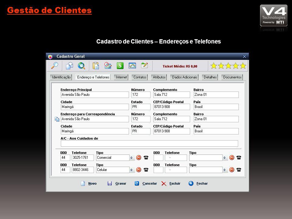 Cadastro de Clientes – Endereços e Telefones