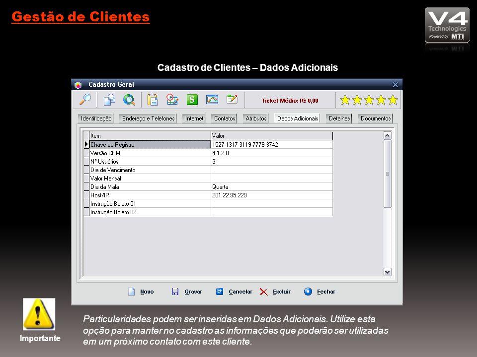 Cadastro de Clientes – Dados Adicionais