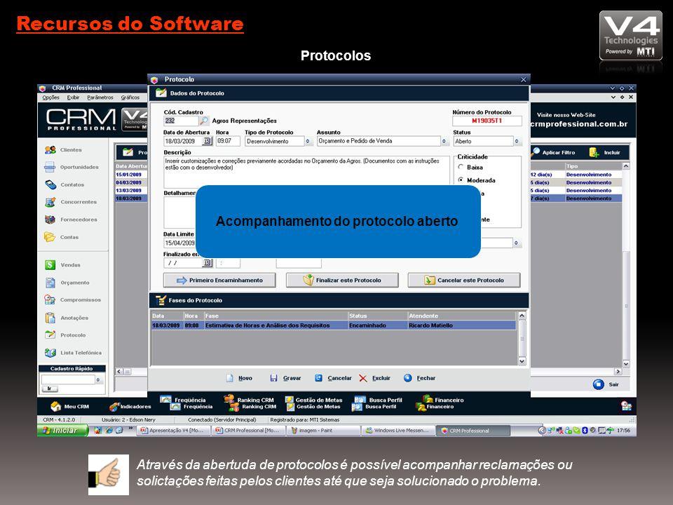 Recursos do Software Protocolos Acompanhamento do protocolo aberto