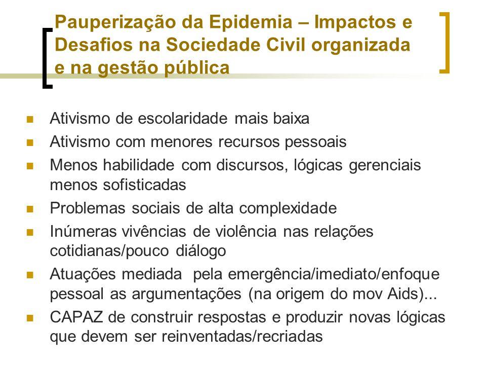 Pauperização da Epidemia – Impactos e Desafios na Sociedade Civil organizada e na gestão pública