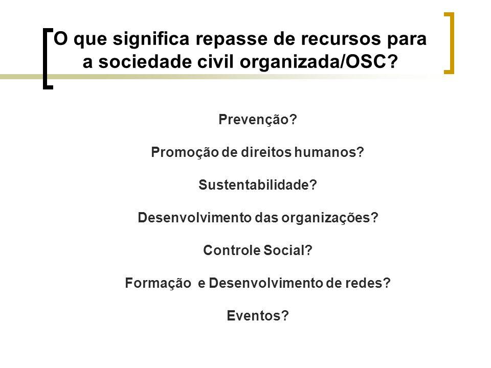 O que significa repasse de recursos para a sociedade civil organizada/OSC
