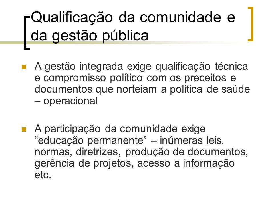 Qualificação da comunidade e da gestão pública