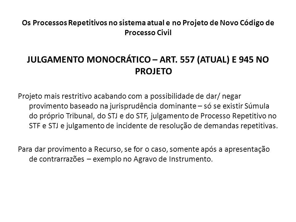 JULGAMENTO MONOCRÁTICO – ART. 557 (ATUAL) E 945 NO PROJETO