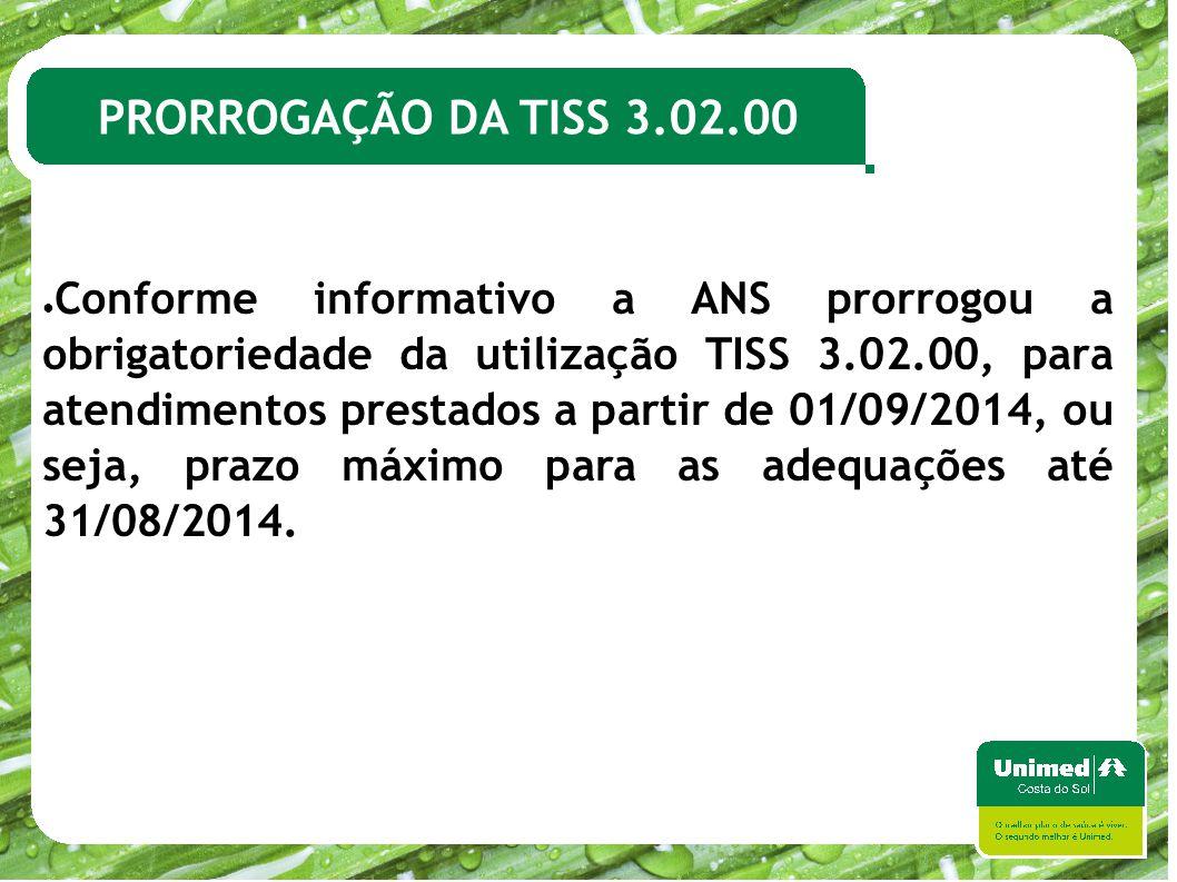 PRORROGAÇÃO DA TISS 3.02.00
