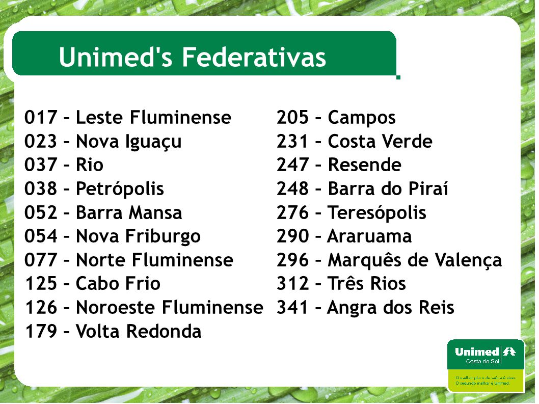 Unimed s Federativas 017 – Leste Fluminense 205 – Campos