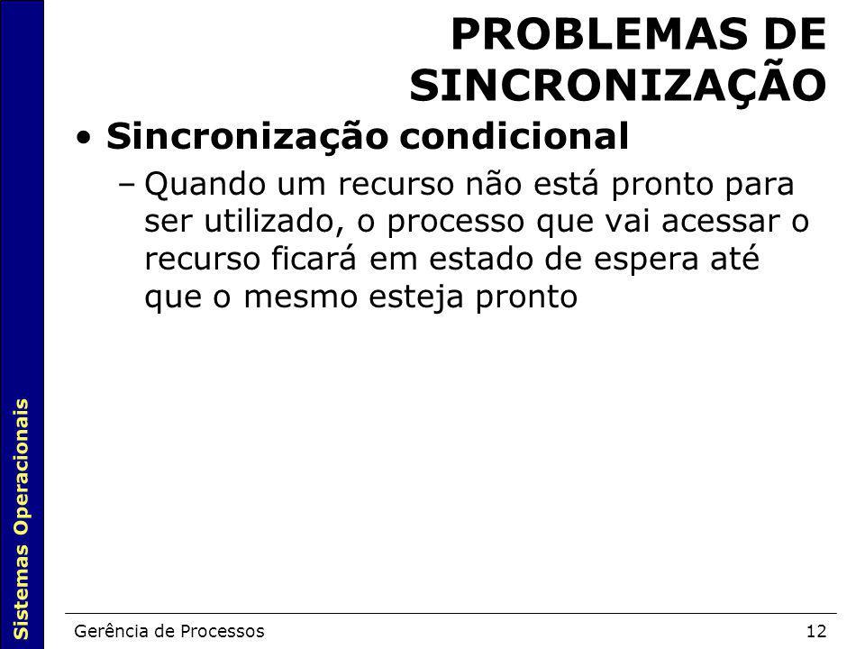 PROBLEMAS DE SINCRONIZAÇÃO