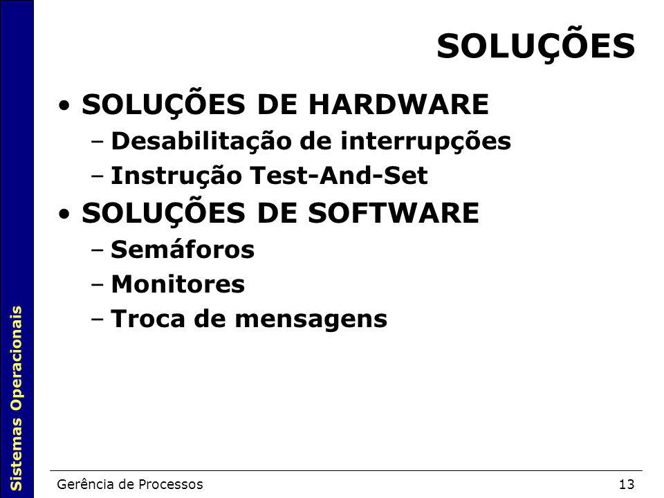 SOLUÇÕES SOLUÇÕES DE HARDWARE SOLUÇÕES DE SOFTWARE