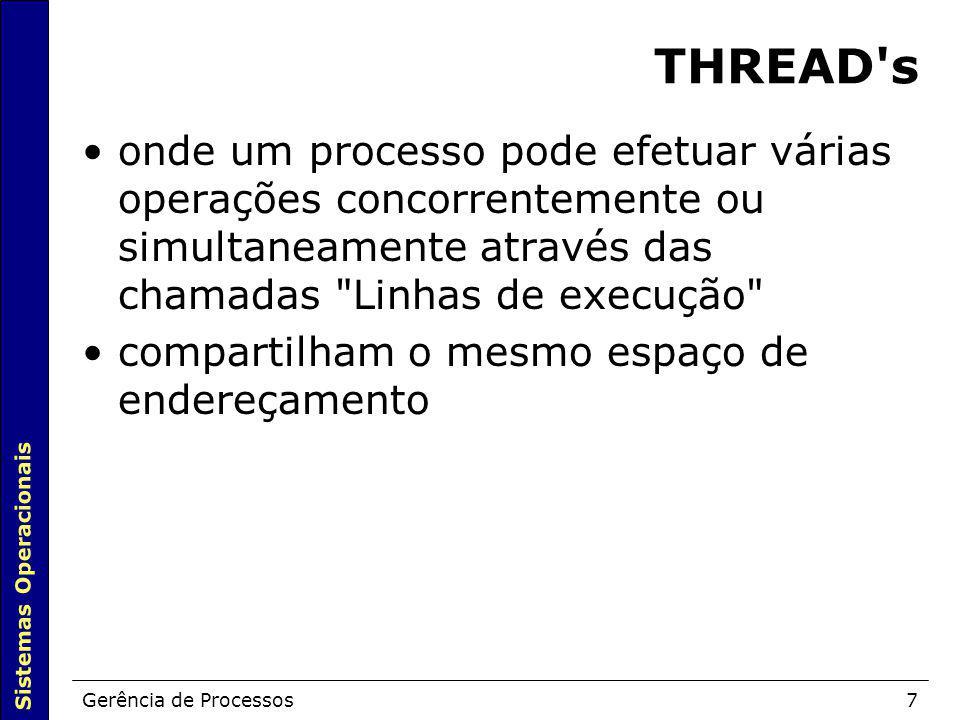 THREAD s onde um processo pode efetuar várias operações concorrentemente ou simultaneamente através das chamadas Linhas de execução