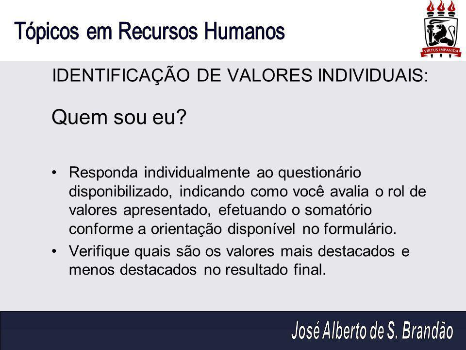 IDENTIFICAÇÃO DE VALORES INDIVIDUAIS: