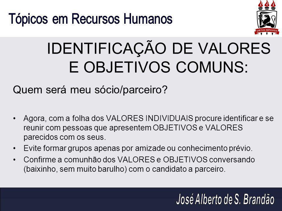 IDENTIFICAÇÃO DE VALORES E OBJETIVOS COMUNS: