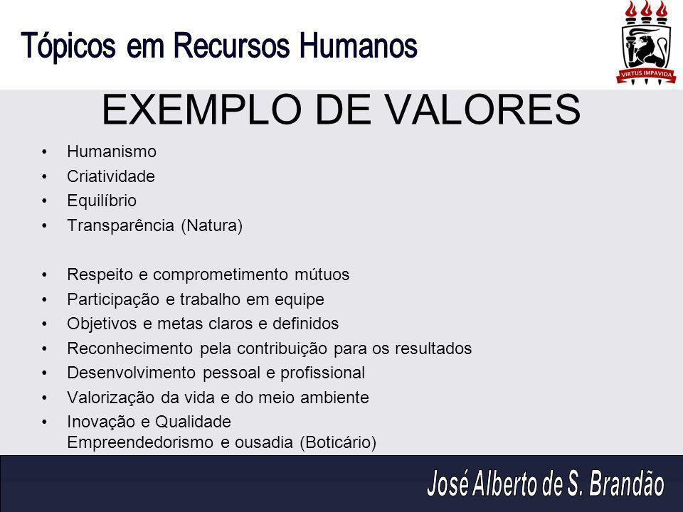 EXEMPLO DE VALORES Humanismo Criatividade Equilíbrio