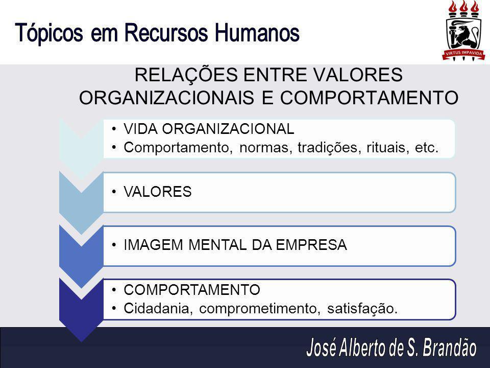 RELAÇÕES ENTRE VALORES ORGANIZACIONAIS E COMPORTAMENTO