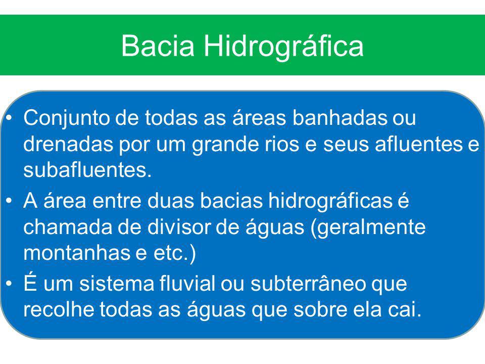 Bacia Hidrográfica Conjunto de todas as áreas banhadas ou drenadas por um grande rios e seus afluentes e subafluentes.
