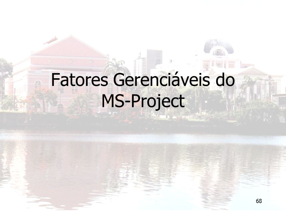 Fatores Gerenciáveis do MS-Project