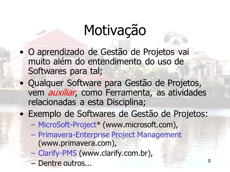 Motivação O aprendizado de Gestão de Projetos vai muito além do entendimento do uso de Softwares para tal;