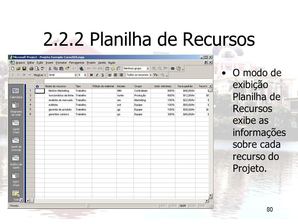 2.2.2 Planilha de Recursos O modo de exibição Planilha de Recursos exibe as informações sobre cada recurso do Projeto.