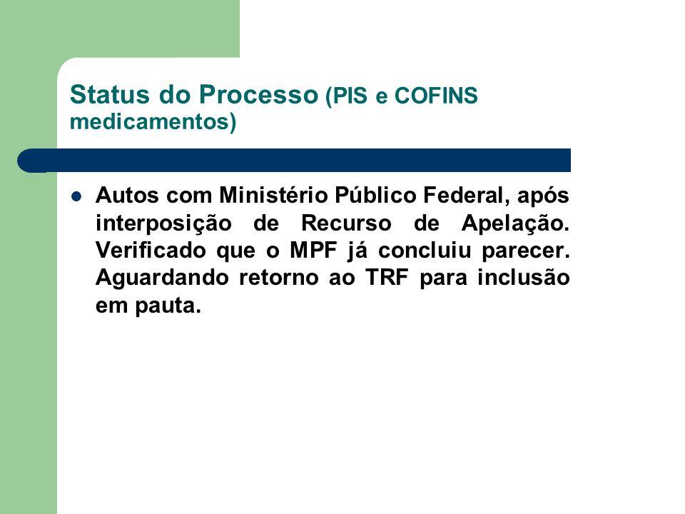 Status do Processo (PIS e COFINS medicamentos)