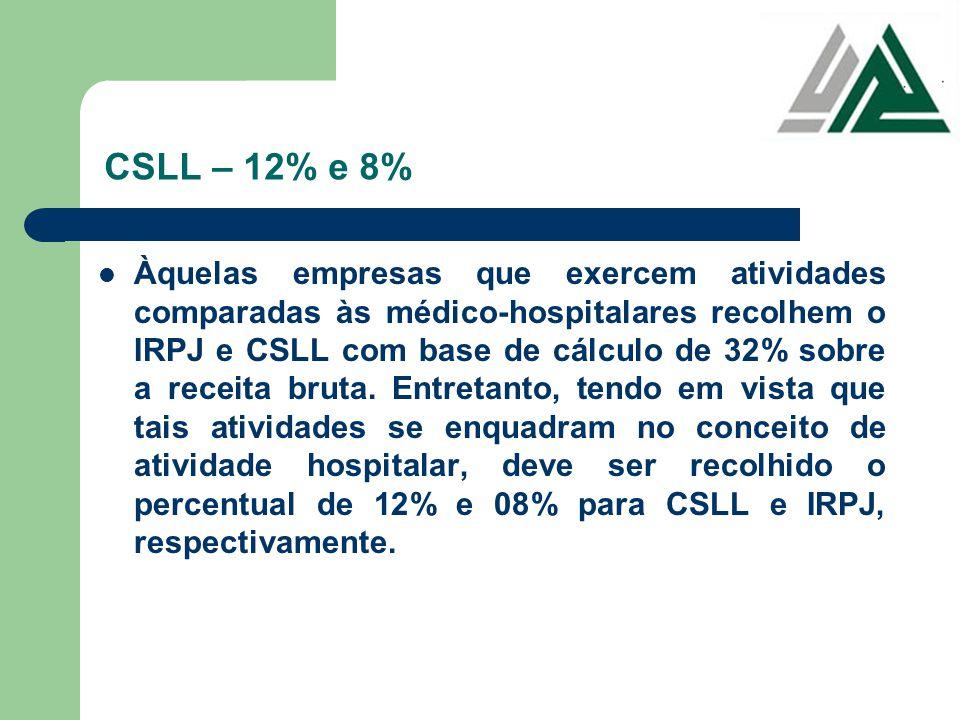 CSLL – 12% e 8%